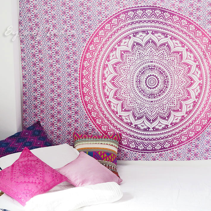 Purple Ombre Bohemian Mandala Tapestry Twin Indian Wall Hanging Throw Bedspread