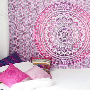 Pink White Ombre Mandala Wall Hanging Tapestry Bedspread Bohemian Boho-Twin/Queen