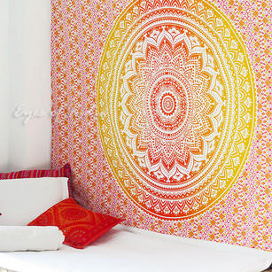 Yellow White Ombre Mandala Wall Hanging Tapestry Bedspread Boho-Twin/Queen