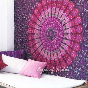 Purple Pink Hippie Mandala Tapestry Bedspread Boho Bohemian Blanket Small/Large, Twin/Queen