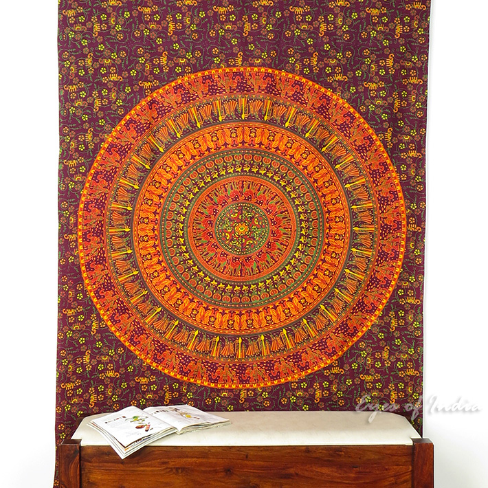 Burgundy Red Hippie Mandala Tapestry Wall Hanging Picnic Bohemian Boho Small/Large, Twin/Queen