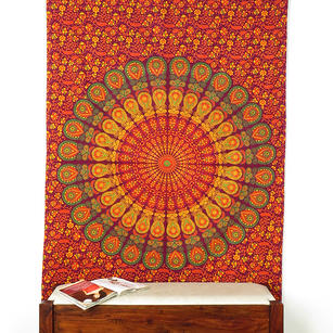 Burgundy Red Elephant Mandala Tapestry Hanging Picnic Bohemian Boho Small/Large, Twin/Queen