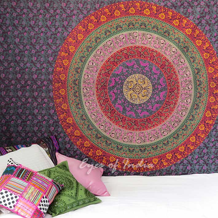 Red Burgundy Hippie Elephant Mandala Tapestry Throw