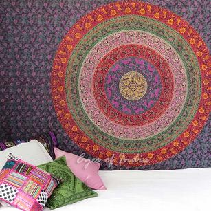 Red Burgundy Hippie Elephant Mandala Tapestry Throw Bedspread Small/Large, Twin/Queen