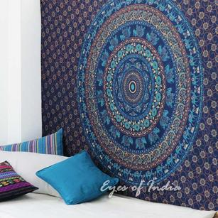 Blue Elephant Mandala Tapestry Bedspread Beach Blanket Dorm Bohemian Boho Small/Large, Twin/Queen