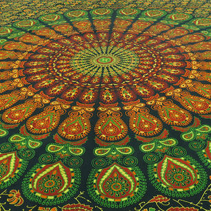 Green Orange Mandala Tapestry Wall Hanging Picnic Bohemian Boho Hippie Small/Large, Twin/Queen
