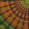 Green Orange Mandala Tapestry Wall Hanging Picnic Bohemian Boho Hippie Small/Large, Twin/Queen 4