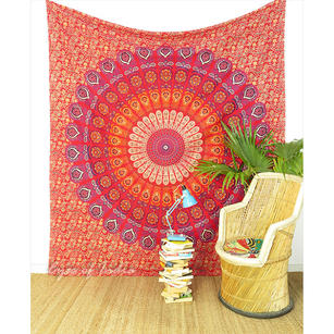 Red Elephant Mandala Tapestry Bedspread Beach Blanket Dorm Bohemian Boho Small/Large, Twin/Queen