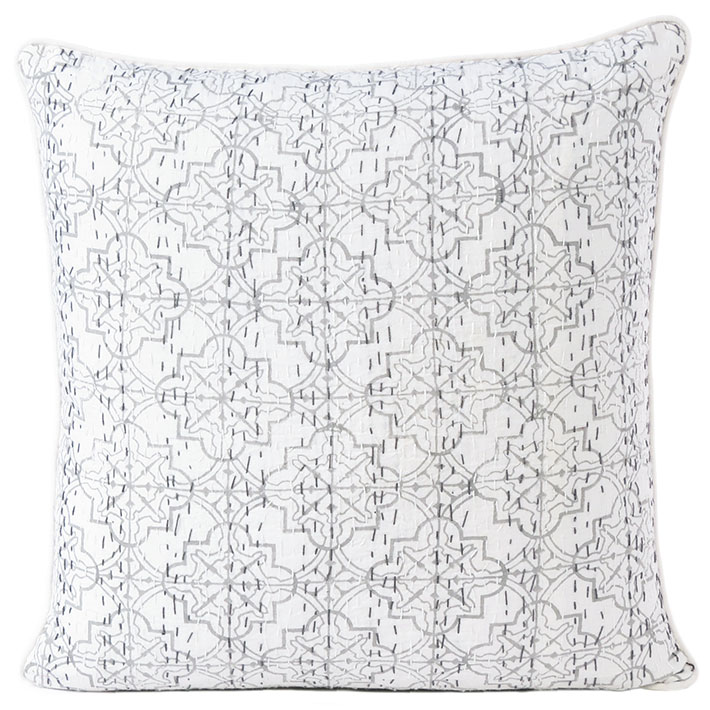 Gray Grey Kantha Decorative Pillow Throw Sofa Couch Colorful Bohemian Cushion Cover - 16 to 24""
