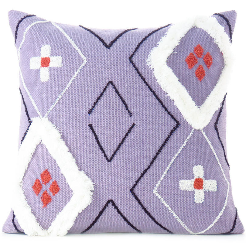 Purple Woven Tufted Colorful Cushion Cover Case Fringe Pillow Sofa Couch Throw - 20""