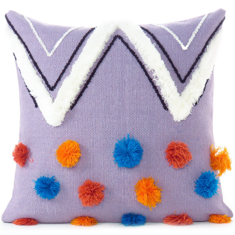 "20"" Purple Woven Tufted Tassel Cushion Cover Case Fringe Pillow Sofa Couch Throw"