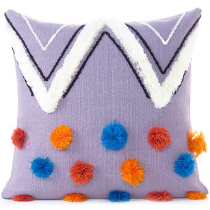 Woven Tufted Boho Cushion Cover, Bohemian Fringe Pillow with Pompoms for Sofa, Handmade Indian Accent Decor, Purple 20X20 Inch, 50X50 cm