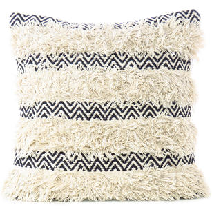 "20"" Cream White Black Woven Tufted Tassel Cushion Pillow Cover Fringe Sofa Couch"