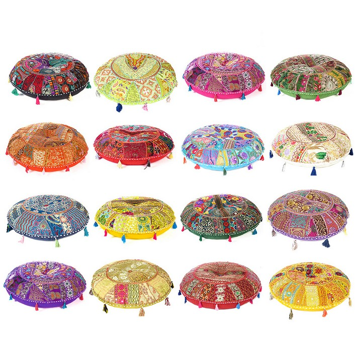 Round Colorful Patchwork Decorative Floor Pillow Cover Meditation Cushion Seating Throw Indian Boho Chic Bohemian Accent Handmade