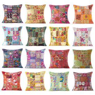 Colorful Patchwork Decorative Pillow Couch Cushion Cover Case Sofa Throw Indian Bohemian Accent Colorful Boho Chic Handmade