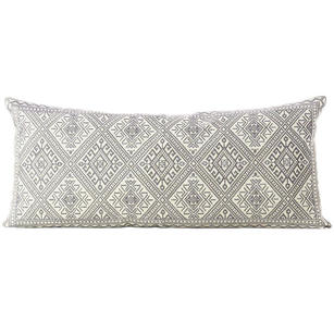 Grey Cream Moroccan Bolster Long Lumbar Sofa Couch Pillow Cushion Cover - 14 X 32""