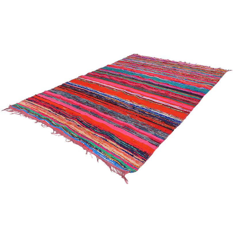 Brown Colorful Decorative Woven Chindi Accent Area Rag Rug Boho Bohemian - 3 X 5 ft