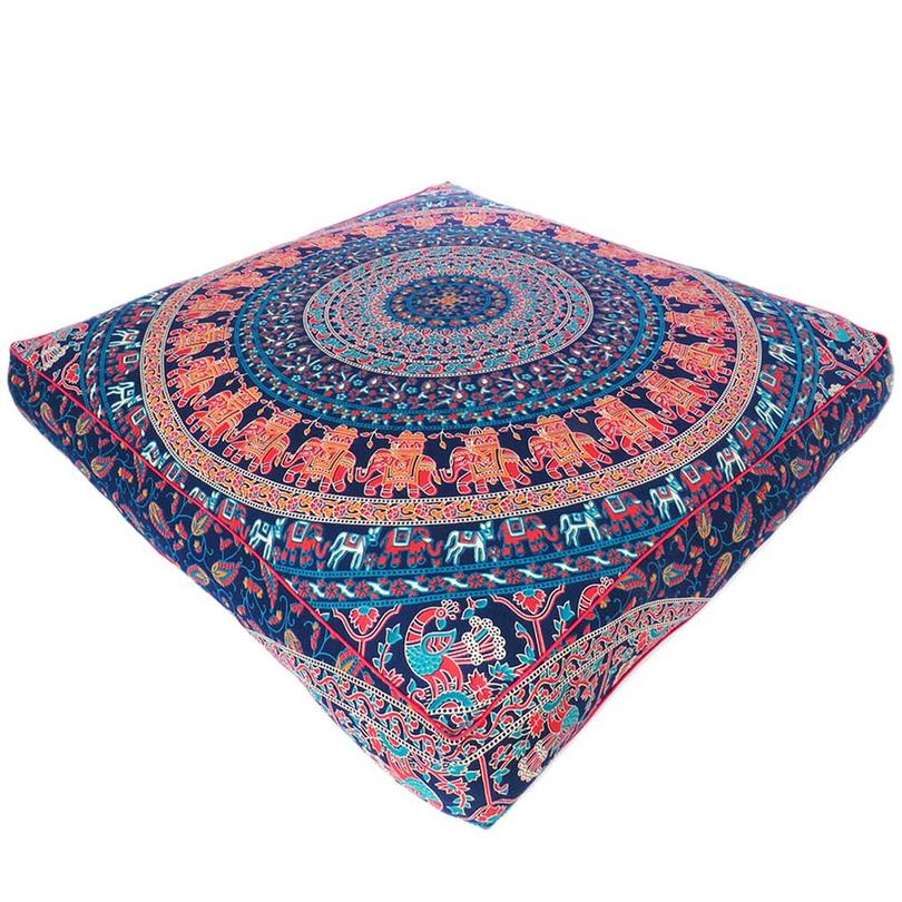 Blue Orange Large Oversized Mandala Square Colorful Floor Pillow Pouf Meditation Cushion Cover