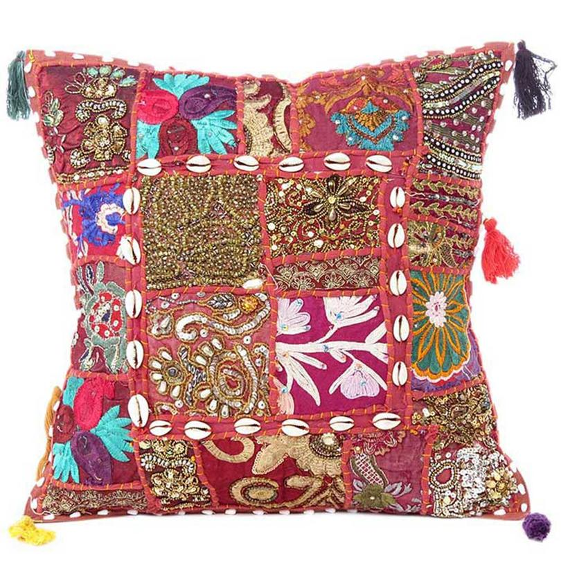 """Burgundy Colorful Patchwork Embroidered Blue Sofa Couch Pillow Cover Throw Cushion  Boho Bohemian - 20"""""""
