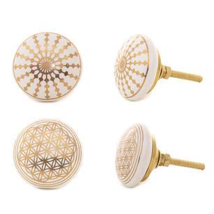 Ceramic Cabinet Dresser Cupboard Door Knobs Pulls White Golden