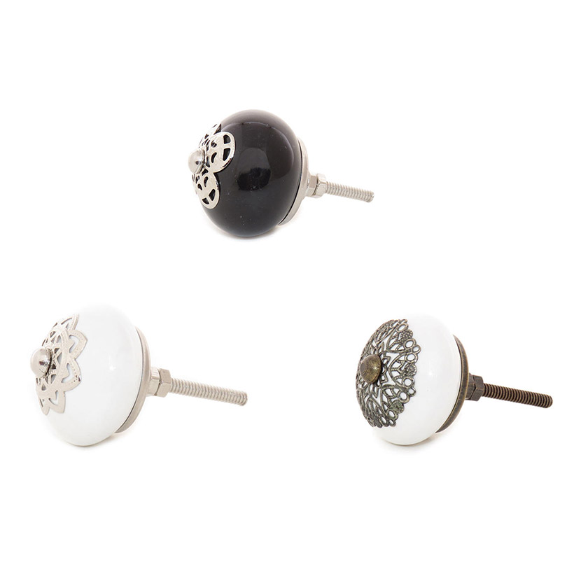 Ceramic Cabinet Door Dresser Cupboard Knobs Pull White, Black