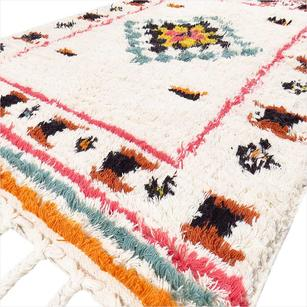 White Colorful Woven Tufted Wool Embroidered Fringe Area Accent Rug Boho Style - 4 X 6 ft