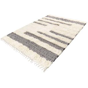 Black & White Woven Tufted Wool Embroidered  Bohemian Fringe Area Accent Rug Boho Style - 4 X 6 ft