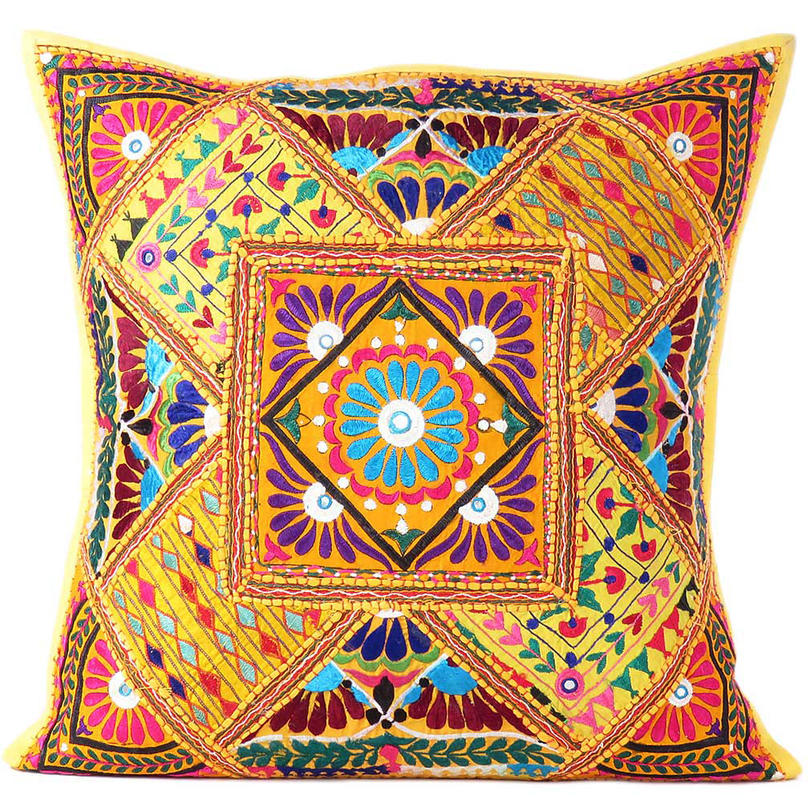 """Yellow Colorful Decorative Patchwork Throw Pillow Cushion Cover Bohemian Boho - 24"""""""