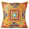 """Yellow Colorful Decorative Patchwork Throw Pillow Cushion Cover Bohemian Boho - 24"""" 1"""
