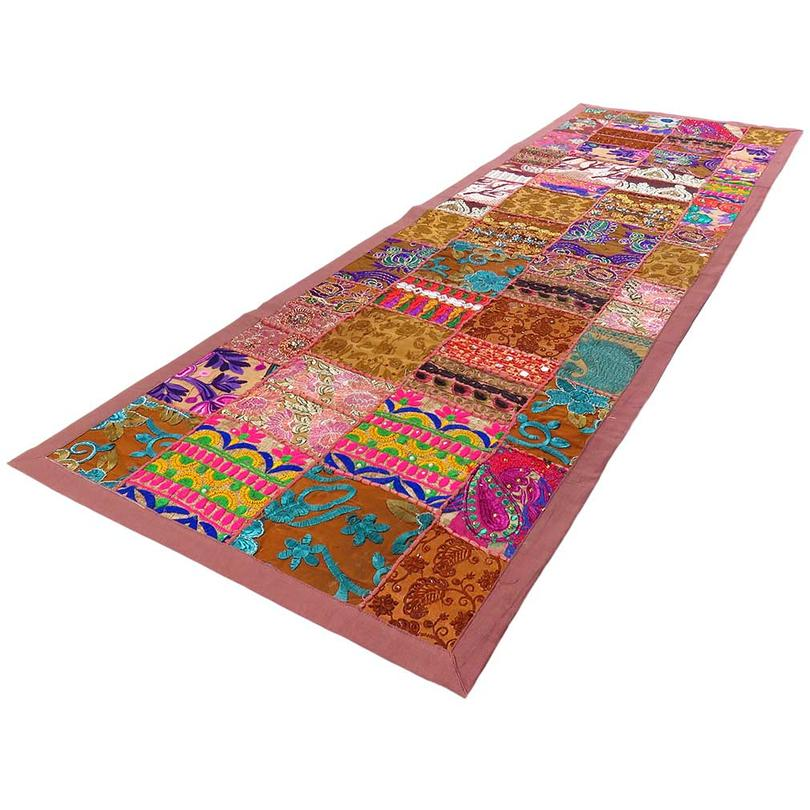 """Brown Embroidered Patchwork Tapestry Wall Hanging Bohemian Decorative Boho - 20 X 80"""""""