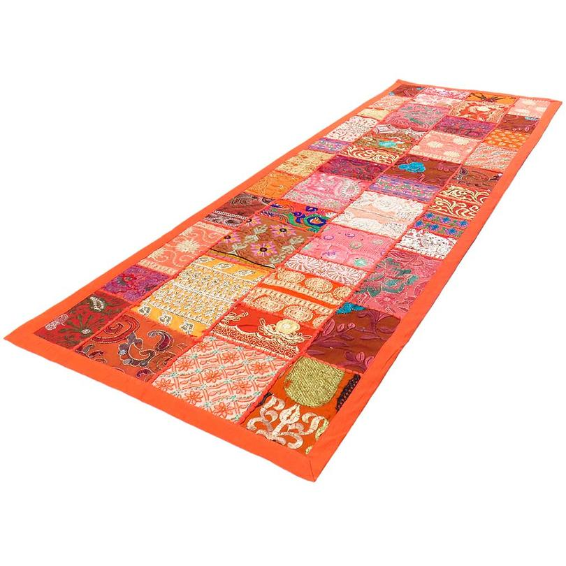 """Orange Embroidered Patchwork Wall Hanging Tapestry Decorative Bohemian Boho - 20 X 80"""""""