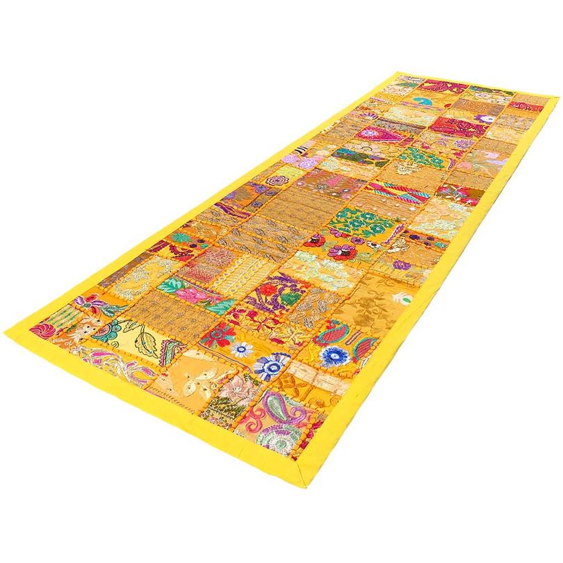 """Yellow Embroidered Patchwork Wall Hanging Tapestry Bohemian Decorative Boho - 20 X 80"""""""