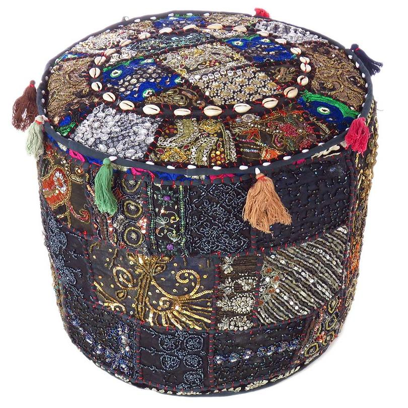 """Black Small Patchwork Round Pouf Pouffe Ottoman Floor Seating Boho Cover - 17 X 12"""""""