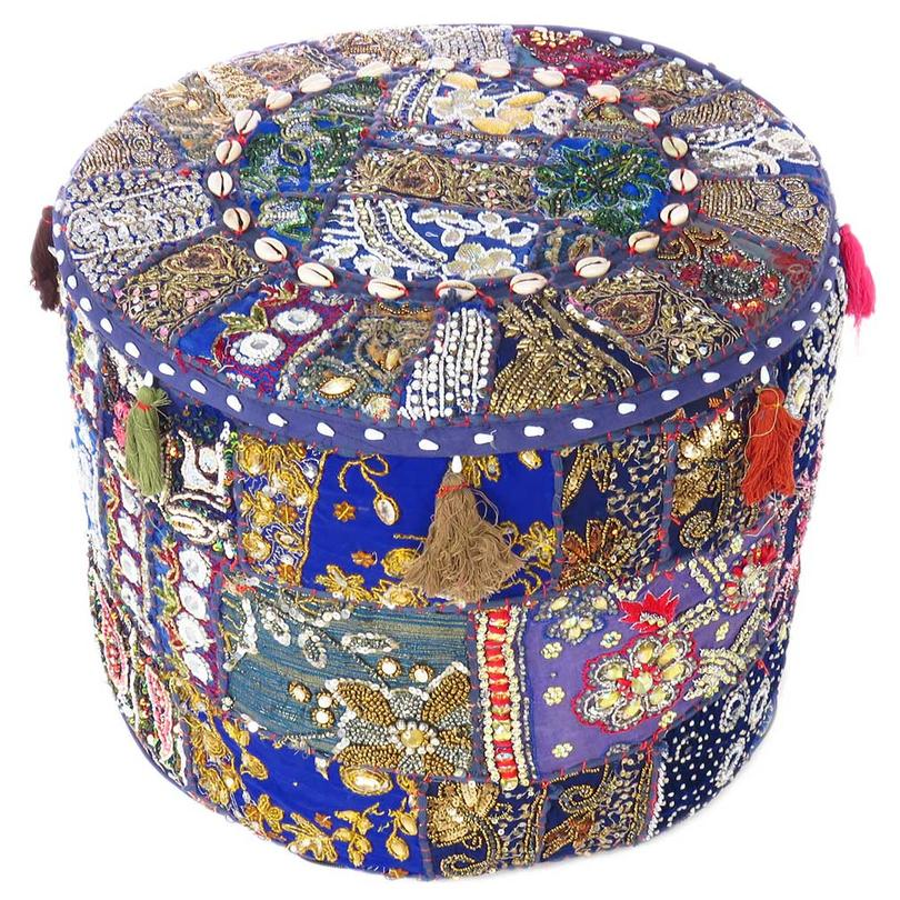 Blue Small Patchwork Round Pouf Pouffe Ottoman Cover Floor Seating Boho - 17 X 12""