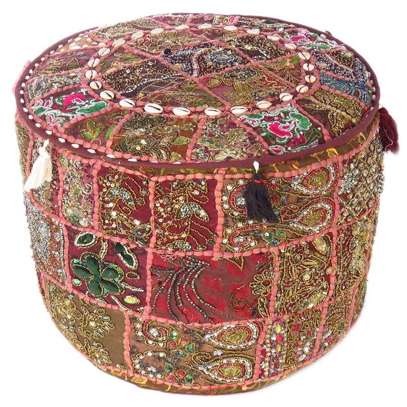 """Brown Small Colorful Round Pouf Pouffe Ottoman Cover Floor Seating Boho - 17 X 12"""""""