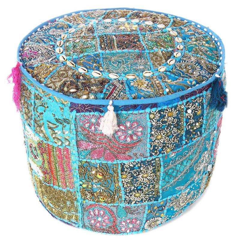 """Blue Small Colorful Round Pouf Pouffe Ottoman Cover Floor Seating Boho - 17 X 12"""""""