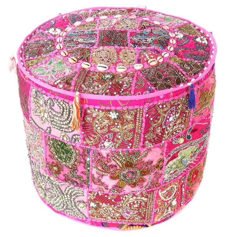 """Pink Round Patchwork Pouf Ottoman Cover Floor Seating Boho Boho - 17 X 12"""""""