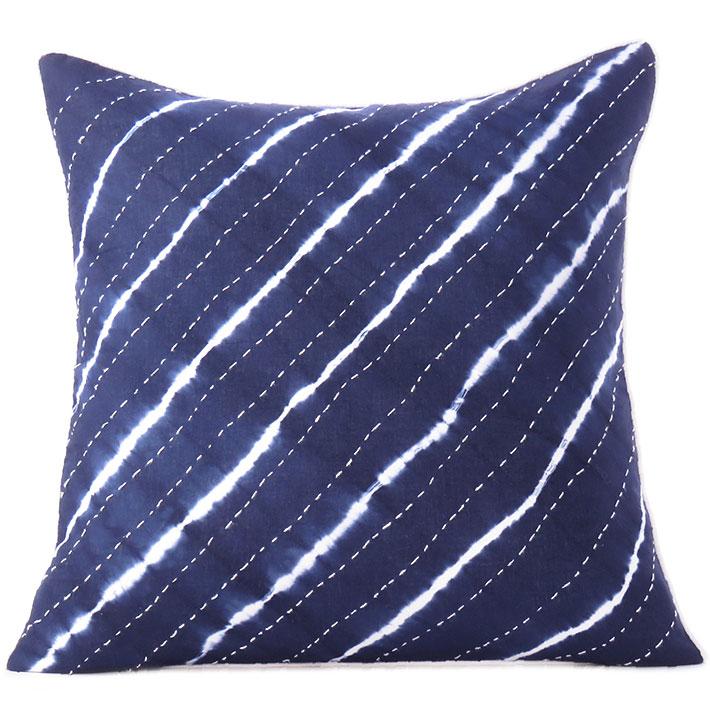 "Indigo Blue Kantha Colorful Decorative Shibori Couch Pillow Cover Cushion Throw Sofa  Bohemian Boho - 16 to 24"""