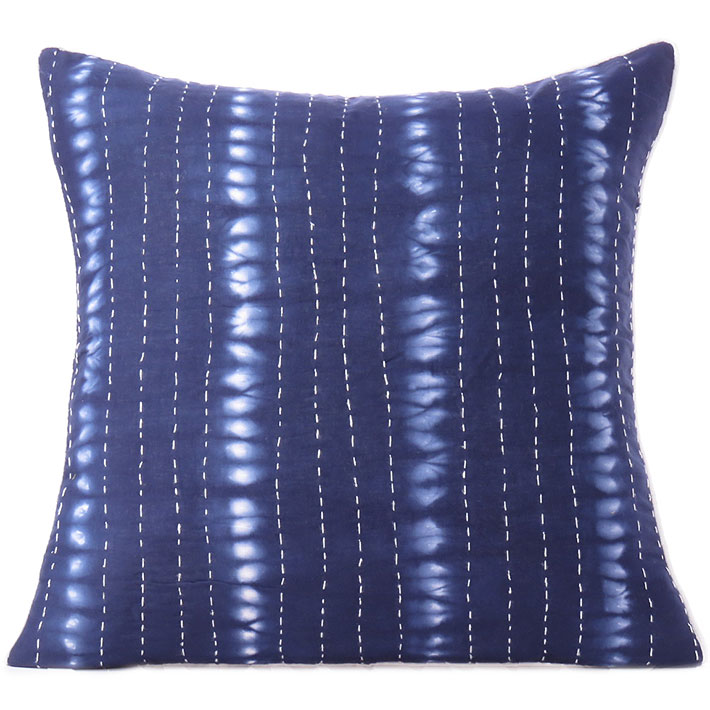 "Indigo Blue Kantha Cushion Shibori Couch Pillow Throw Cover Sofa Bohemian Colorful Decorative Boho - 16 to 24"""