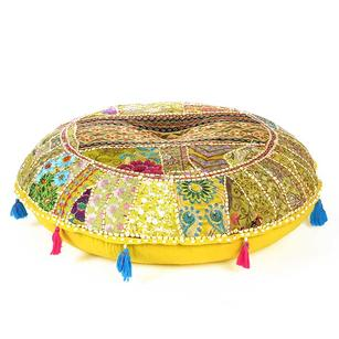 """28"""" Yellow Embroidered Patchwork Round Floor Pillow Cover Colorful Decorative Cu"""