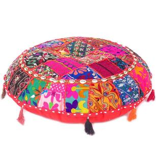 Round Colorful Decorative Floor Pillow Cover Meditation Cushion Seating Throw Bo