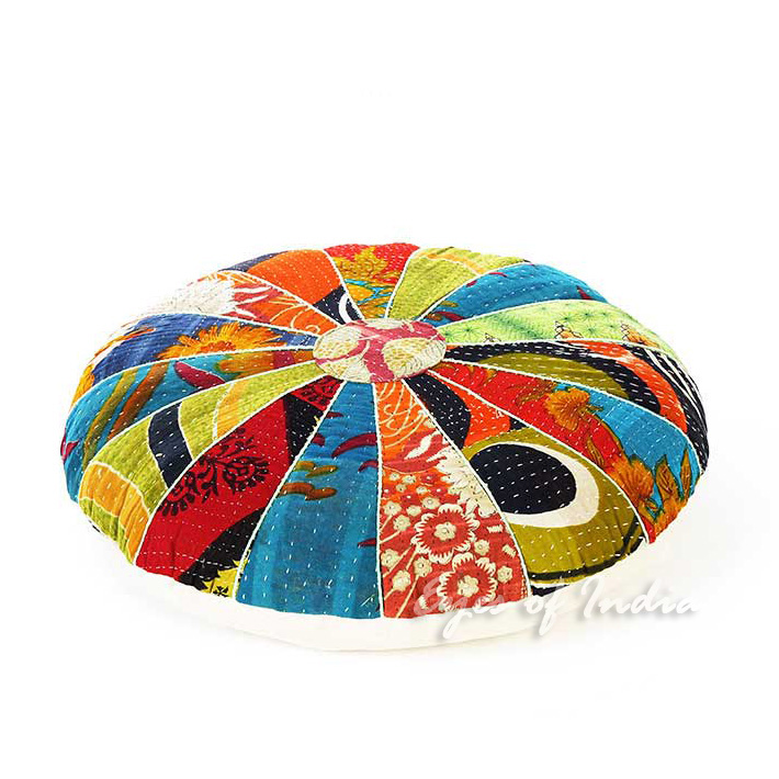 Round Colorful Kantha Floor Pillow Cushion Cover Bohemian Accent Indian Boho Chi