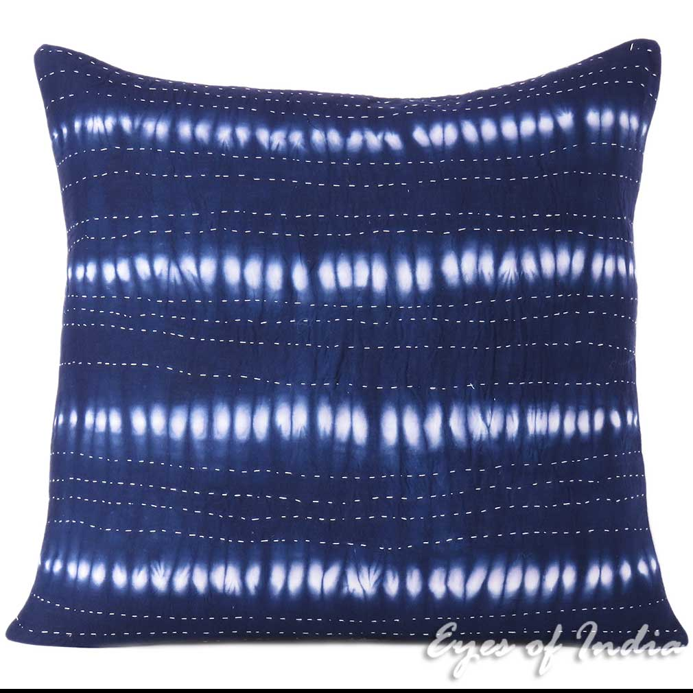 Indigo Blue Quilted Kantha Shibori Couch Pillow Cushion Cover Colorful Decorativ