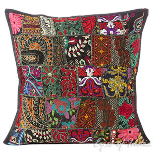 Black Patchwork Decorative Pillow Couch Cushion Cover Sofa Throw Colorful Boho