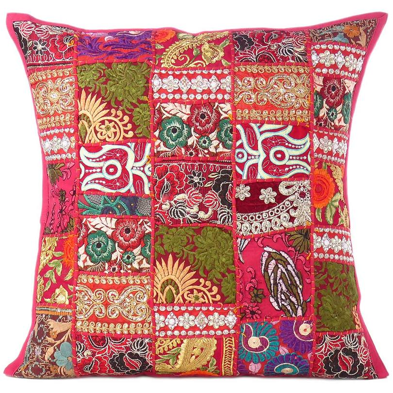 Burgundy Red Patchwork Decorative Pillow Sofa Cushion Cover Case Couch Throw Bohemian Accent Handmade