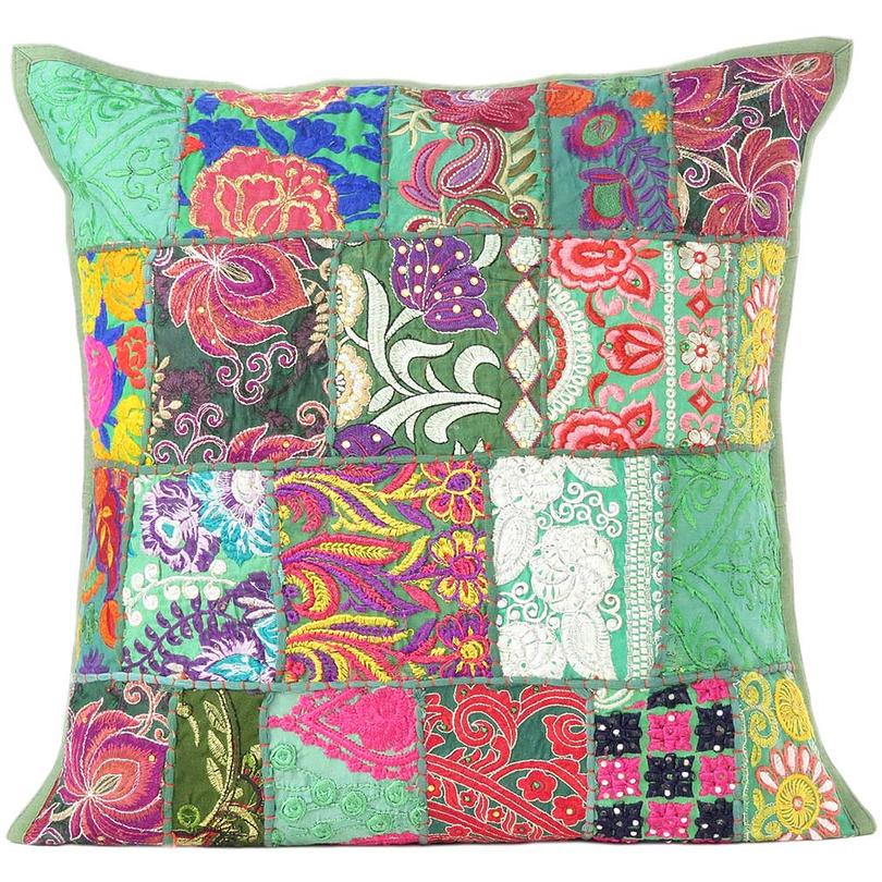 Green Patchwork Colorful Cushion Throw Pillow Cover Case Bohemian Accent Handmade