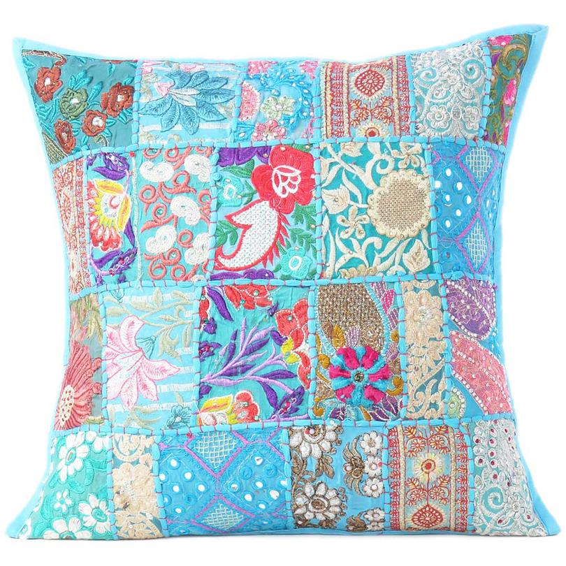 Blue Patchwork Colorful Decorative Throw Sofa Pillow Cover Cushion Bohemian Accent Handmade