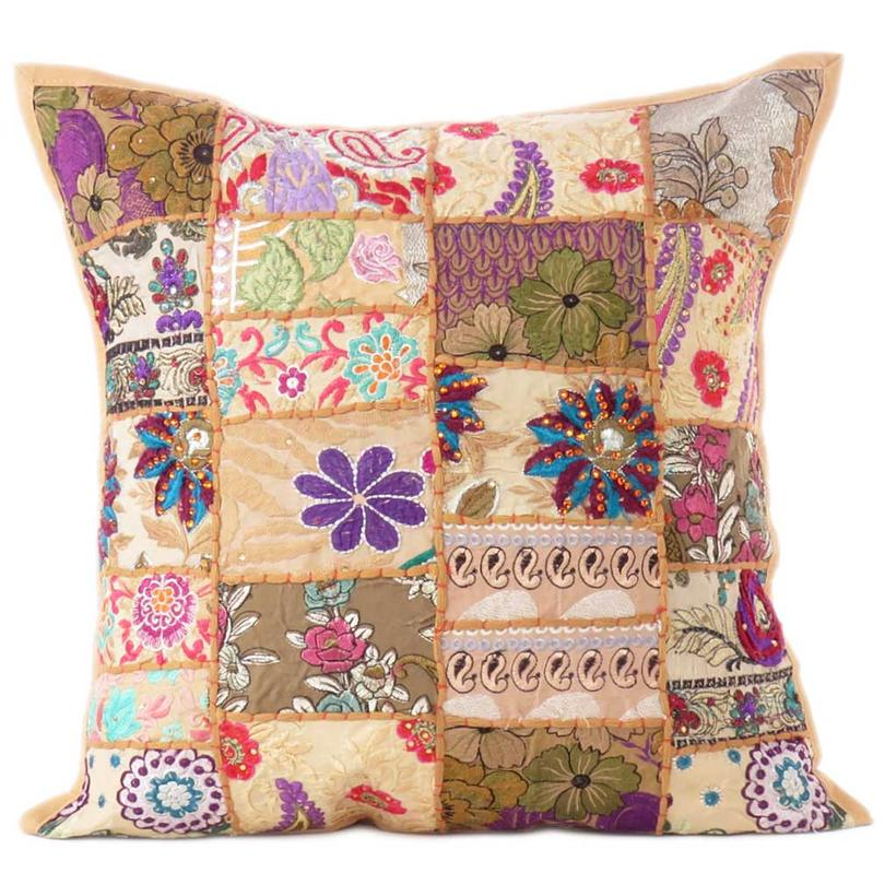 Brown Patchwork Cushion Couch Sofa Pillow Throw Cover Case Colorful Decorative Boho Chic Handmade