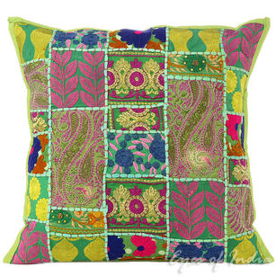 Green Patchwork Decorative Pillow Sofa Cushion Cover Couch Throw Colorful Boho