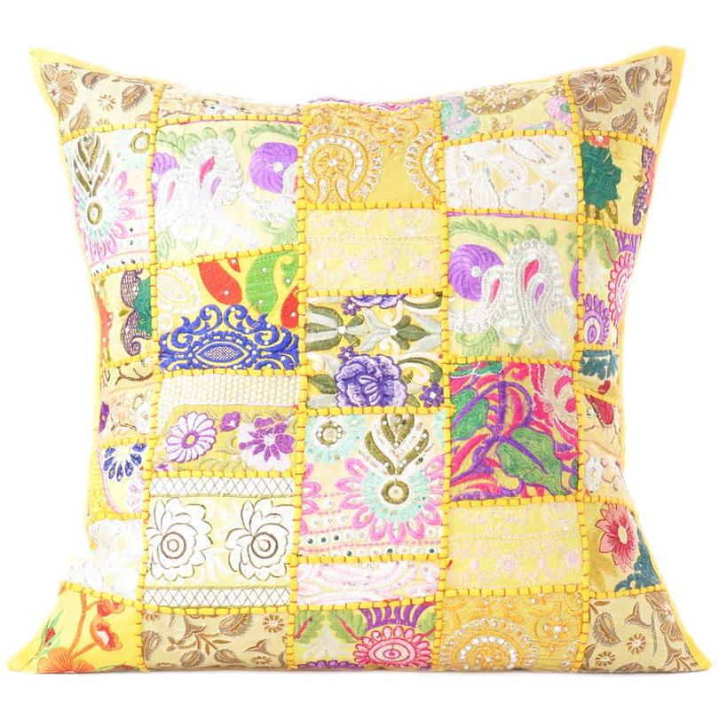 Yellow Patchwork Colorful Decorative Cushion Pillow Throw Cover Boho Chic Bohemian Accent Handmade